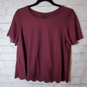 TopShop Merlot Scalloped Edge Tee